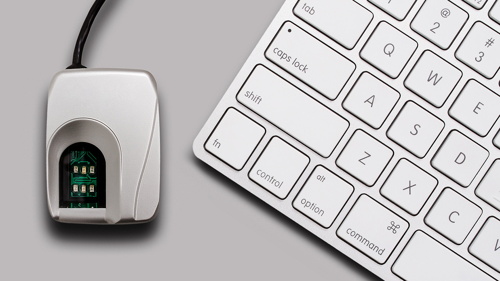Computer mouse with a biometric chip next to a laptop keyboard.