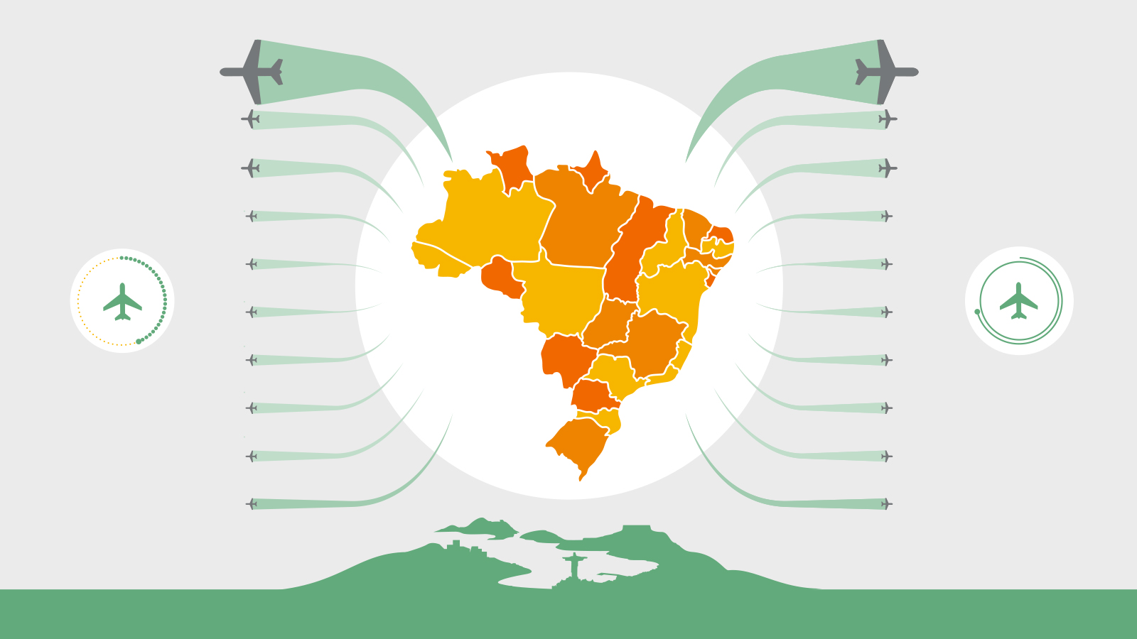 Infographic of inbound and outbound Visa card spend by visitors to Brazil and Brazilians abroad.