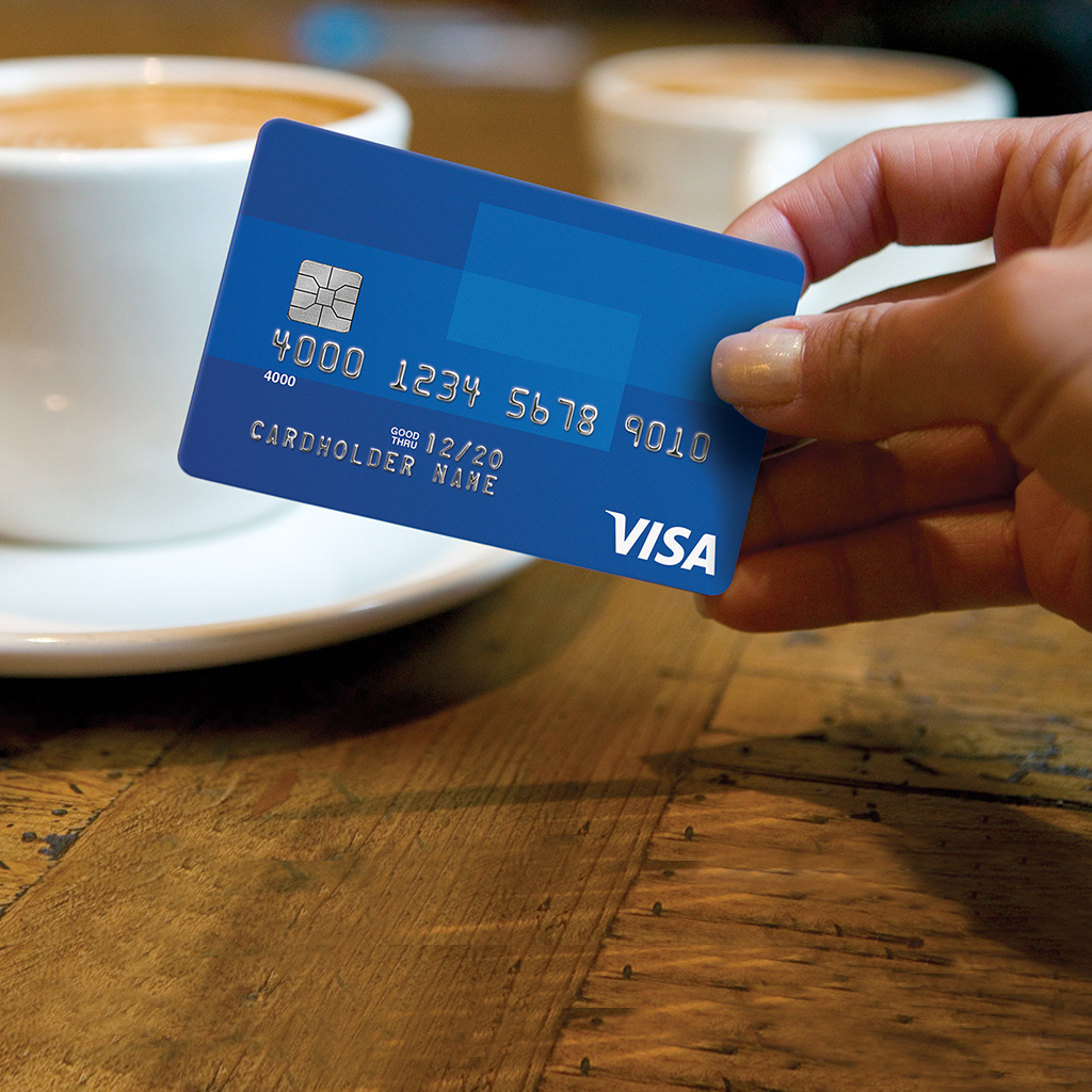 Chip card and a cup of joe