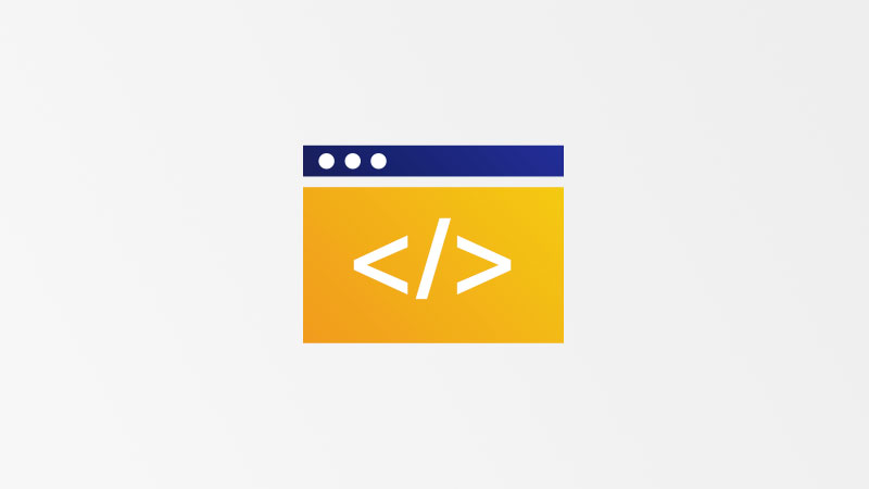 Generic icon of a computer screen with html symbol inside.